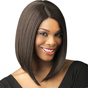 cheap Synthetic Trendy Wigs-Synthetic Wig Natural Straight Bob Middle Part Wig Medium Length Light Brown Wine Red Brown Black Dark Brown#2 Synthetic Hair 14 inch Women's Fashionable Design Creative Party Burgundy Brown