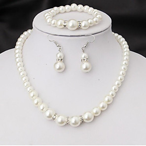cheap Jewelry Sets-Women's Bridal Jewelry Sets Imitation Pearl Earrings Jewelry White For Wedding Party Engagement Promise Festival Four-piece Suit