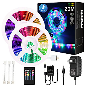 cheap LED Strip Lights-ZDM 65ft 2x10 Meter Music Synchronous Happy Multicolour Light Strip Waterproof 5050 RGB LED Flexible Strip Light with 20 key IR Controller Optional with Adapter Kit DC12V