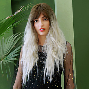 cheap Synthetic Trendy Wigs-Synthetic Wig Curly Water Wave Side Part Neat Bang With Bangs Wig Very Long Ombre White Synthetic Hair 28 inch Women's Cosplay Color Gradient Ombre Hair Brown Ombre BLONDE UNICORN
