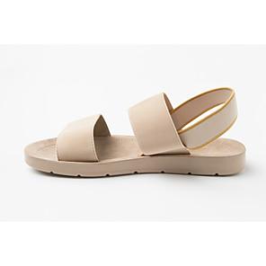 hesapli Kadın Düz Ayakkabıları ve Makosenleri-Kadın's Sandaletler 2020 Bunyon Sandalet Bahar Yaz Düz Taban Açık Uçlu Günlük Minimalizm Günlük Ev Kurdele Bağcık Çizgili Zıt Renkli PU Elastik Kumaş Bisiklet Yürüyüş Siyah ve Gümüş / Drak Red
