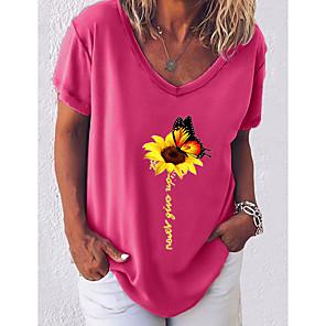 cheap Softshell, Fleece & Hiking Jackets-Women's T-shirt Graphic V Neck Tops Cotton Basic Top White Black Blue