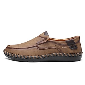 cheap Men's Slip-ons & Loafers-Men's Summer Daily Loafers & Slip-Ons PU Black / Khaki / Brown