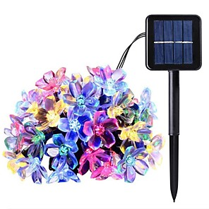 cheap LED String Lights-12M 100LED Cherry Blossom LED Solar String Lights Outdoor String Lights Fairy Light 8 Function Outdoor Waterproof Garden Lawn Courtyard Decoration Solar Light