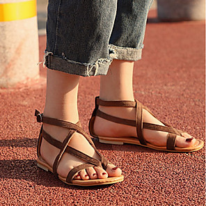 cheap Women's Sandals-Women's Sandals Roman Shoes / Gladiator Sandals Summer Flat Heel Open Toe Daily PU Brown