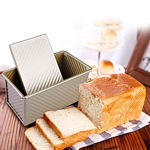 cheap Bakeware-Bread Baking Mould Loaf Pan with Cover Cake Toast Non-Stick Box with Lid Gold Aluminized Steel Mold
