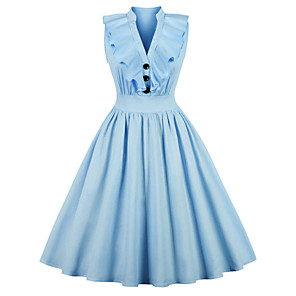 cheap Historical & Vintage Costumes-Audrey Hepburn Vintage Dress Women's Spandex Costume Pink / LightBlue Vintage Cosplay A-Line