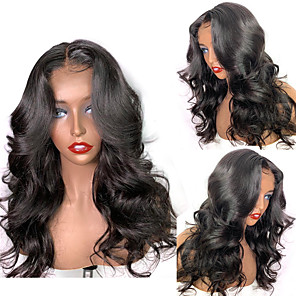 cheap Synthetic Trendy Wigs-Synthetic Wig Body Wave with Baby Hair Wig Medium Length Natural Black Synthetic Hair 54~58 inch Women's New Arrival Black