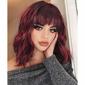 cheap Colored Hair Weaves-Synthetic Wig Curly With Bangs Wig Burgundy Medium Length Wine Red Brown / Auburn Brown Natural Black #1B Medium Brown / Light Blonde Black / Brown Synthetic Hair 14 inch Women's Party Adorable