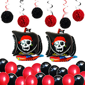 cheap Reborn Doll-Party Balloons 22+12 pcs Pirate Captain Party Supplies Latex Balloons Paper Pom Poms Boys and Girls Party Decoration 8-12inch for Party Favors Supplies or Home Decoration