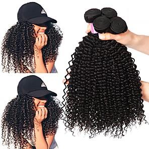 cheap Colored Hair Weaves-4 Bundles Hair Weaves Brazilian Hair Kinky Curly Human Hair Extensions Remy Human Hair 100% Remy Hair Weave Bundles 400 g Natural Color Hair Weaves / Hair Bulk Human Hair Extensions 8-28 inch Natural