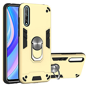 cheap Huawei Case-Case For Huawei Y5P Y6P Y8P P SMART2020 P SMART Z Y7 Y7Prime Y7Pro Y6 Y6Prime Y6Pro Y9Prime Honor Play4T 9S 8A Shockproof Ring Holder Back Cover Solid Colored TPU PC Metal