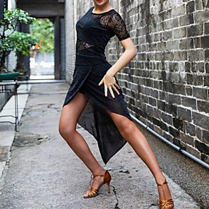 cheap Latin Dancewear-Latin Dance Dress Lace Split Joint Women's Performance Lace