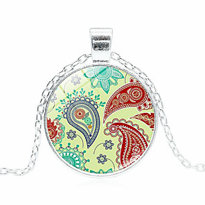 cheap Necklaces-Women's Pendant Necklace Handmade Kaleidoscope Vintage Colorful Glass Alloy Silver 51-80 cm Necklace Jewelry For Gift Festival