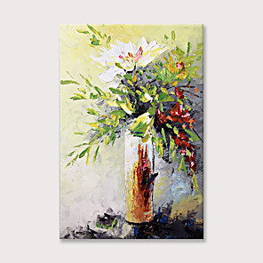 cheap Abstract Paintings-Oil Painting Hand Painted Floral Canvas Wall Art Flower Artwork Bouquet in Vase Painting Picture for Living Room
