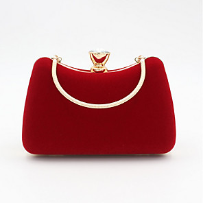 cheap Handbag & Totes-Women's Bags Velvet Evening Bag Crystals for Event / Party Black / Purple / Red