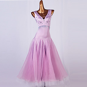 cheap Ballroom Dancewear-Ballroom Dance Dress Crystals / Rhinestones Women's Performance Sleeveless Spandex Organza