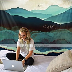 cheap Wall Tapestries-Large and spectacular night view tapestry of green hills and birds retro hippie tapestry for yoga and beach home decoration