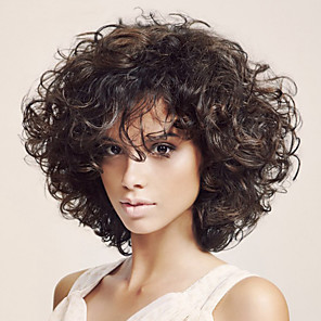 cheap Synthetic Trendy Wigs-Synthetic Wig Deep Curly Asymmetrical With Bangs Wig Short Brown Synthetic Hair 14 inch Women's Fashionable Design Exquisite Fluffy Brown
