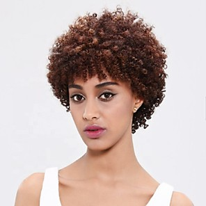 cheap Synthetic Trendy Wigs-Synthetic Wig Afro Curly Free Part Wig Short Dark Brown Synthetic Hair 10 inch Women's Party New Arrival Comfortable Dark Brown