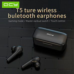 cheap TWS True Wireless Headphones-QCY T5 Wireless Headphones Bluetooth 5.0 TWS True Wireless HIFI Earbuds No Lag Gaming Mode Touch Control Stereo Headphones HD Talking for Android iOS Windows