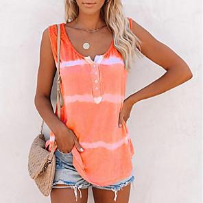 cheap Maxi Dresses-Women's Tank Top Striped Round Neck Tops Loose Cotton Summer Purple Blushing Pink Orange