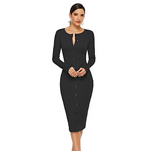 cheap Synthetic Trendy Wigs-Women's Sheath Dress Midi Dress - Long Sleeve Solid Color Fall Work Elegant 2020 Black Gray S M L XL