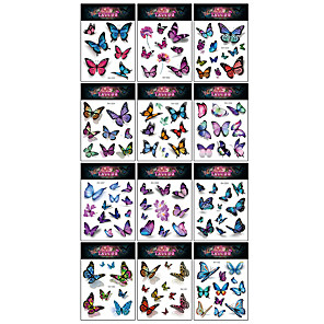 cheap Tattoo Stickers-12 Pcs/set Temporary Tattoos Butterfly Tattoos for Kids Womens Colorful Body Art Temporary Tattoos, Butterfly Party Favors