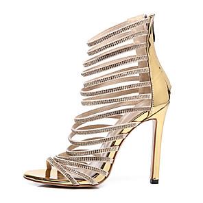cheap Women's Sandals-Women's Sandals Summer Stiletto Heel Open Toe Daily Denim PU Gold / Roman Shoes / Gladiator Sandals