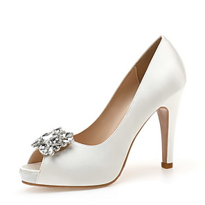 cheap Wedding Shoes-Women's Heels Spring / Fall Pumps Peep Toe Wedding Party & Evening Rhinestone Satin White / Black / Blue