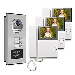 cheap Video Door Phone Systems-4.3 Wired Video Doorbell Video Intercom Multi-User Direct Press Visual Intercom Doorbell Network Cable With Camera 3 Monitors Video Door Phone Intercom System