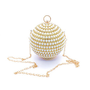 cheap Handbag & Totes-Women's Bags PU Leather Crossbody Bag Pearls / Crystals for Event / Party Gold