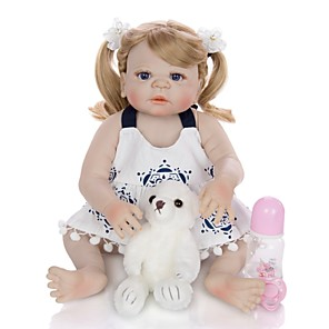 cheap Reborn Doll-KEIUMI 22 inch Reborn Doll Baby & Toddler Toy Reborn Toddler Doll Baby Girl Gift Cute Washable Lovely Parent-Child Interaction Full Body Silicone 23D11-C299-H71-T19 with Clothes and Accessories for