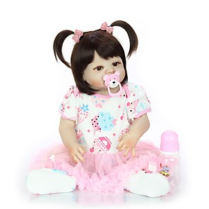 cheap Historical & Vintage Costumes-KEIUMI 22 inch Reborn Doll Baby & Toddler Toy Reborn Toddler Doll Baby Girl Gift Cute Washable Lovely Parent-Child Interaction Full Body Silicone 23D07-C41-H43-H06 with Clothes and Accessories for