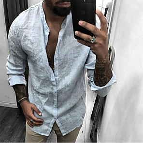 cheap LED String Lights-Men's Shirt Solid Colored Long Sleeve Tops Linen Basic Standing Collar White Black Gray