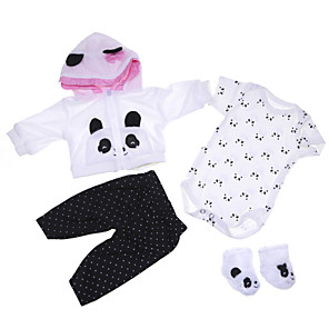 cheap Dolls Accessories-Reborn Baby Dolls Clothes Reborn Doll Accesories Cotton Fabric for 17-18 Inch Reborn Doll Not Include Reborn Doll Panda Soft Pure Handmade Girls' 4 pcs