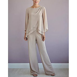 cheap Buy More, Save More-Pantsuit / Jumpsuit Mother of the Bride Dress Elegant Jewel Neck Floor Length Chiffon Long Sleeve with Tier 2020