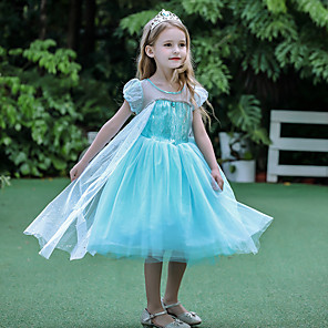 cheap Fitness Gear & Accessories-Princess Elsa Dress Flower Girl Dress Girls' Movie Cosplay A-Line Slip Blue Dress Halloween Children's Day Masquerade Polyester