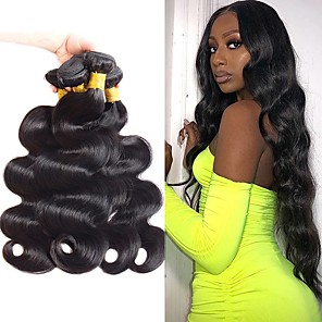 cheap 3 Bundles with Closure-4 Bundles Hair Weaves Brazilian Hair Body Wave Human Hair Extensions Remy Human Hair 100% Remy Hair Weave Bundles 400 g Natural Color Hair Weaves / Hair Bulk Human Hair Extensions 8-28 inch Natural