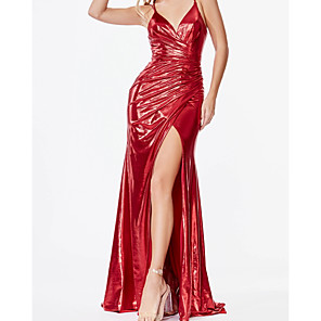 cheap Videogame Costumes-Sheath / Column Sexy Sparkle Engagement Prom Dress V Neck Sleeveless Sweep / Brush Train Satin with Ruched Draping Split 2020