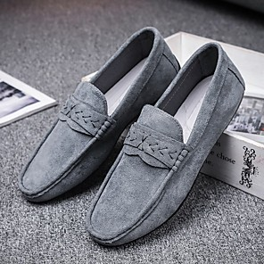 cheap Men's Slip-ons & Loafers-Men's Summer / Fall Casual Daily Party & Evening Loafers & Slip-Ons Faux Leather / PU Non-slipping Wear Proof Black / Gray