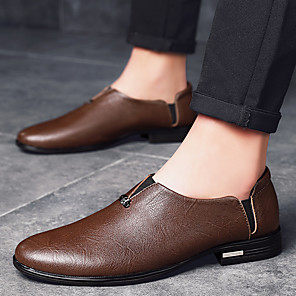 cheap Men's Slip-ons & Loafers-Men's Summer / Fall Business / Vintage / British Daily Office & Career Loafers & Slip-Ons Nappa Leather Breathable Wear Proof Black / Brown