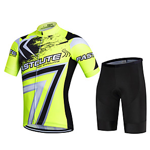 cheap Cycling Jersey & Shorts / Pants Sets-Fastcute Men's Short Sleeve Cycling Jersey with Shorts Lycra Polyester Red Army Green Blue Geometic Plus Size Bike Shorts Pants / Trousers Jersey Breathable 3D Pad Quick Dry Sweat-wicking Sports