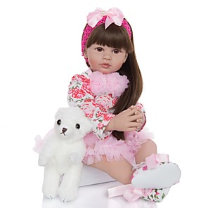 cheap Reborn Doll-KEIUMI 24 inch Reborn Doll Baby & Toddler Toy Reborn Toddler Doll Baby Girl Gift Cute Lovely Parent-Child Interaction Tipped and Sealed Nails Half Silicone and Cloth Body 24D01-C172-S20-H70-T19 with