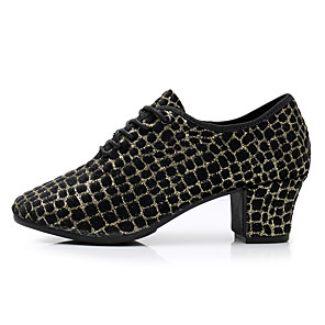 cheap Latin Shoes-Women's Dance Shoes Latin Shoes Modern Shoes Salsa Shoes Heel Glitter Thick Heel Customizable Black / Gold / Black / Silver / Red