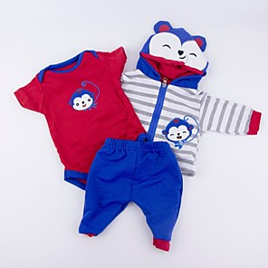 cheap Reborn Doll-Reborn Baby Dolls Clothes Reborn Doll Accesories Cotton Fabric for 17-18 Inch Reborn Doll Not Include Reborn Doll Monkey Soft Pure Handmade Boys' 3 pcs