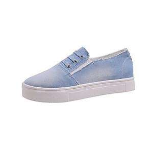 hesapli Kadın Düz Ayakkabıları ve Makosenleri-Kadın's Spor Ayakkabısı Yaz Düz Taban Yuvarlak Uçlu Günlük Solid Kanvas Koyu Mavi / Gri / Açık Mavi