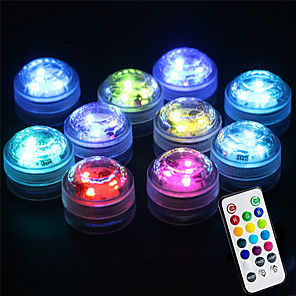 cheap Outdoor Wall Lights-10pcs 2 W Submersible Light Underwater Light Waterproof Remote Controlled Infrared Sensor Multi Color Batteries Powered Outdoor Lighting Swimming pool Courtyard 3 LED Beads Valentine's Day Christmas