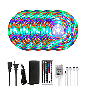 cheap LED Strip Lights-20M LED Strip Lights RGB Tiktok Lights Waterproof 1200LEDs Flexible Color Change 2835 with 44 Keys IR Remote Controller and 100-240V Adapter for Home Bedroom TV Back Lights DIY Deco