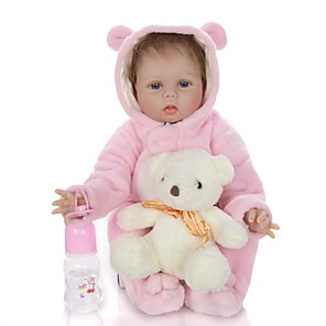 cheap Halloween Toys-KEIUMI 22 inch Reborn Doll Baby & Toddler Toy Reborn Toddler Doll Baby Girl Gift Cute Lovely Parent-Child Interaction Tipped and Sealed Nails Half Silicone and Cloth Body with Clothes and Accessories